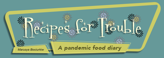 mobile header for Recipes for Trouble, A pandemic food diary